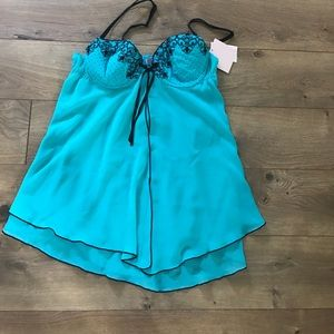 Brand new turquoise baby doll with thong panties