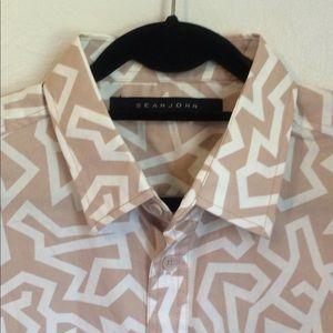 SEAN JOHN Mens Size XL Tan/Cream S/S Camp Shirt