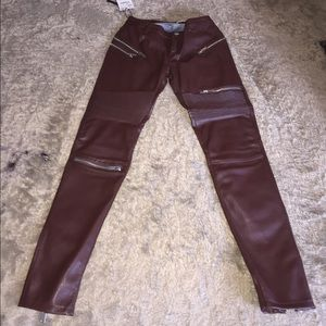 Denim - Burgundy leather skinny jeans