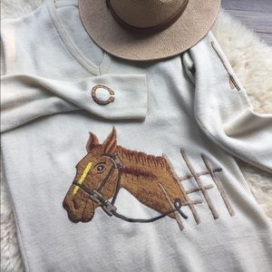 Vintage Horse Embroidery Appliqué Sweater AMAZING