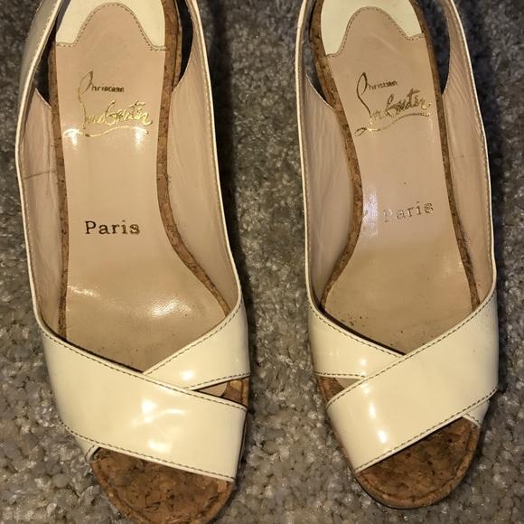 Nouvelles Arrivées 0a42f 37201 Christian LouBoutin Paris Wedges, size 38 1/2.
