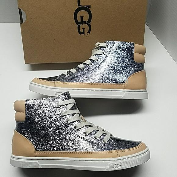 0207bbdea9a UGG Gradie Glitter Gunmetal Hi-top Sneaker Shoes 5 NWT