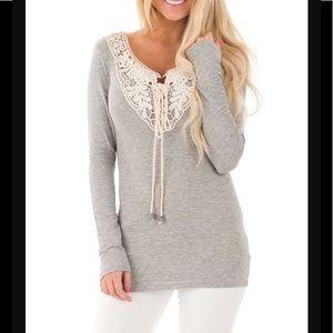 Tops - Grey crochet detail top