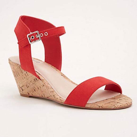 b5787dd0cc1 Torrid Red Cork mini wedge sandals wide width 9 10