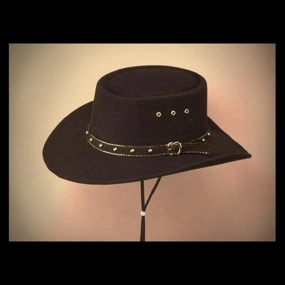 1a439b12537 Black Felt Gambler cowboy Hat - Size 6 3 4