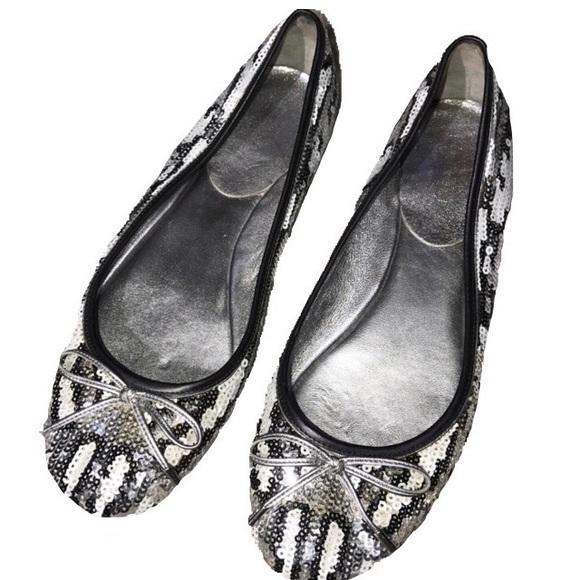 silver sequin ballet flats