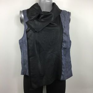 Karen Kane Moto Vest Denim Faux Leather Drape