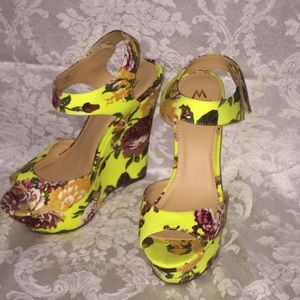 Neon yellow floral wedges