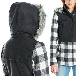 Contrast Plaid Fur Trimmed Hooded Wool Coat NWT