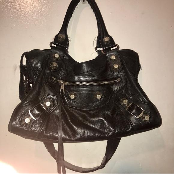 Balenciaga Giant City Silver Hardware Bag Black