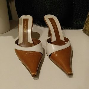 SERGIO ROSSI BROWN AND BEIGE LEATHER PUMPS 7