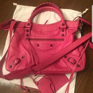 Balenciaga Cyclamen Motorcycle Town Bag, used for sale