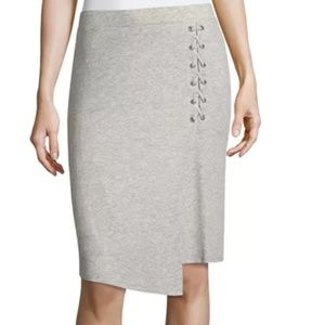 Lace-Up Rib-Knit Skirt by Splendid