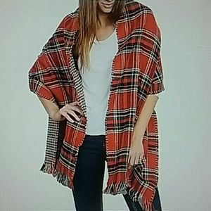 Accessories - PLAID BLANKET SCARF DOUBLE SIDE