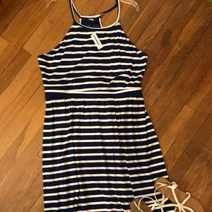 SALE Royal Blue/White Striped Maxi Dress