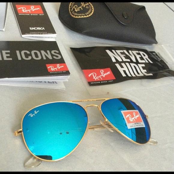 d3ed2c87b98 Ice Blue Rayban Aviator Sunglasses Size 58
