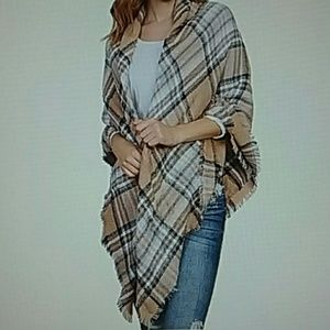 Accessories - PLAID SCARF FRINGE CAMEL