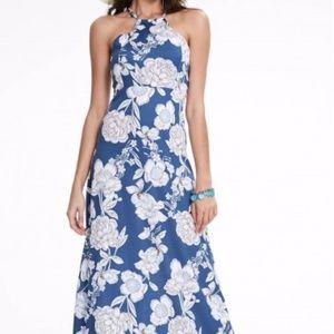 Dresses & Skirts - Floral Royal Blue Long Dress with keyhole back