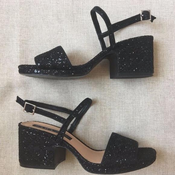 black glitter shoes low heel