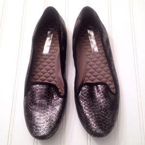 BCBG MaxAzria metallic snakeskin loafers