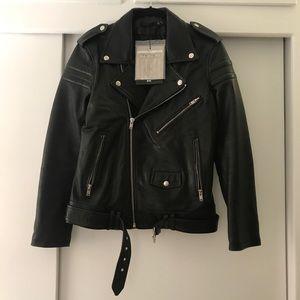 BLK DNM Unisex Leather Motorcycle Jacket, M