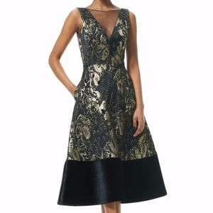 Theia Gold Metallic Jacquard Tea-length Midi Dress