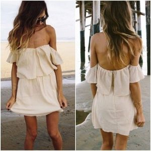 Beige off the shoulder beach dress
