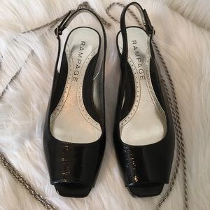 """Rampage Black Patent Leather 1"""" Wedge Size 6M NWOT"""