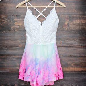 White Crochet and tie dye watercolor Romper