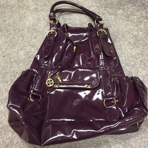 Eggplant Patton leather backpack style handbag