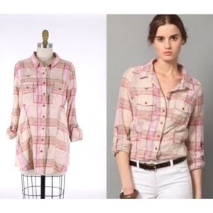 FREE PEOPLE Plaid Button-Down