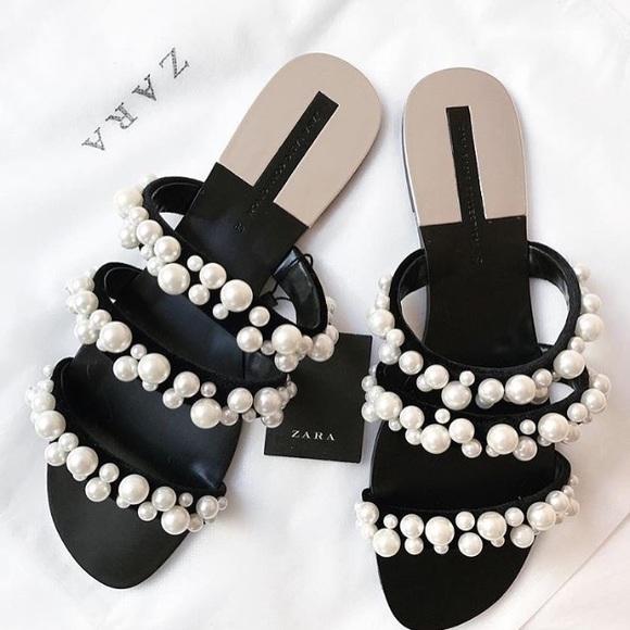 142a9dc1edd Zara Pearl Strappy Sandals--FINAL