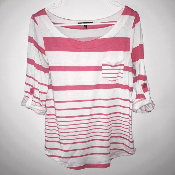 Papaya Tops - White and Pink striped Shirt!!