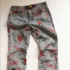 90s print Todd Oldham denim jeans gray silver pant