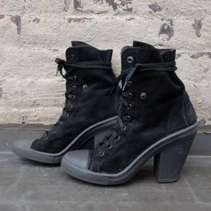 Topshop Black Sneaker Style Lace Up Ankle Boots