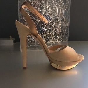 NEW-Gold/beige suede strappy sandals