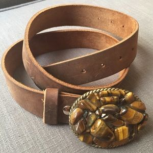 Accessories - Vintage Wear Leather Belt with Tigereye Buckle