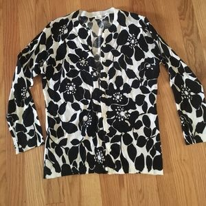 J Crew Black & White 3/4 Sleeve Cardigan