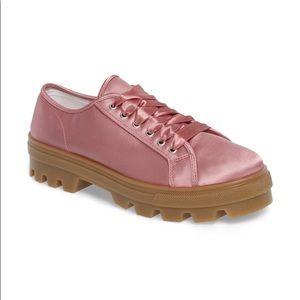 Topshop Pink Satin Clover Sneakers
