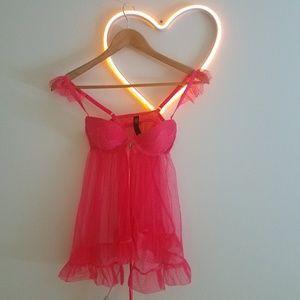 VS Lingerie Bra/Teddy Deep Pink