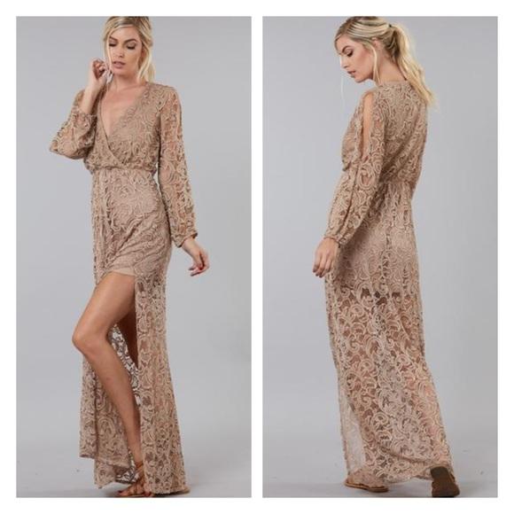 49f4ed3eb15e Peach Love California Dresses | Long Sleeve Lace Overlay Maxi Dress ...