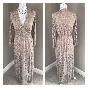 2cd15478809e Peach Love California Dresses | Long Sleeve Lace Overlay Maxi Dress ...
