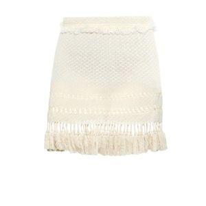 Isabel Marant Beige Tifen Fringed Skirt Size 36