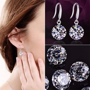 Fashion Drop Hook Dangle CZ Earrings for Women 2pr