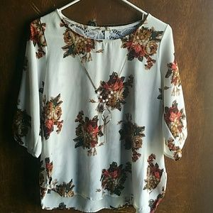 MULIT-COLORED FLORAL BLOUSE