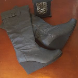 Knee high gray faux leather boots