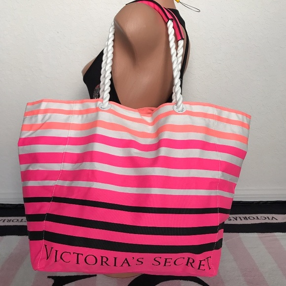 8e07cd236 Victoria's Secret Bags | Vs White Orange Pink Black Striped Canvas ...