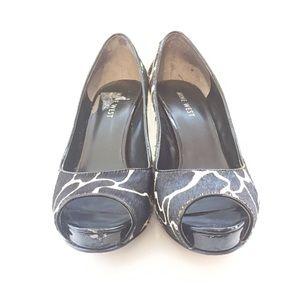 Nine West Shoes - Nine West Cowhide Peep Toe Pumps