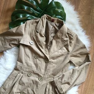 H&M Khaki Double Breasted Trench Coat