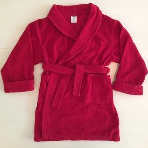 Red Fleece Bathrobe w/ Hearts